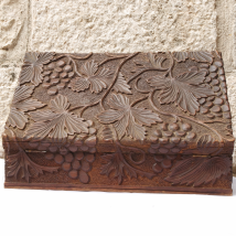 Carved Wood Box with Grapevine Motive