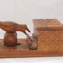 Carved Wood Cigarette Box with Bird Figure